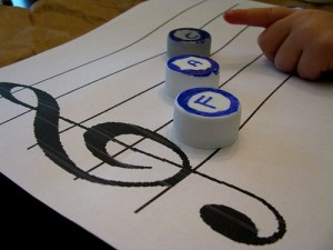 Musical Notation Game with Bottle Caps