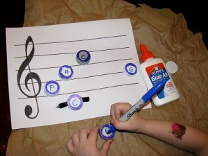 Bottle Cap Musical Notation Game