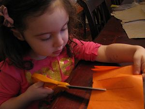 Cutting the Paper Pumpkin