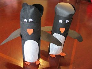 Finished Penguin Cardboard Toilet Paper Tube Craft