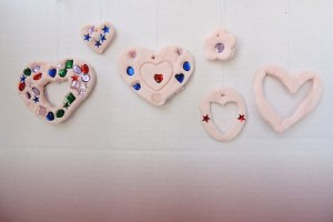 Salt Ceramic Heart Ornaments for Valentine's Day