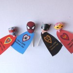 Superhero Lollipop Valentines with Heart Logos