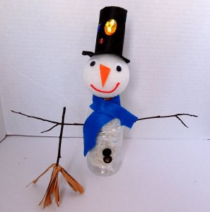 Plastic Water Bottle and Tissue Paper Snowman
