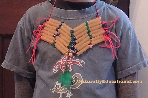 Native American Comanche Inspired Hair Pipe Breastplate Kid Craft B
